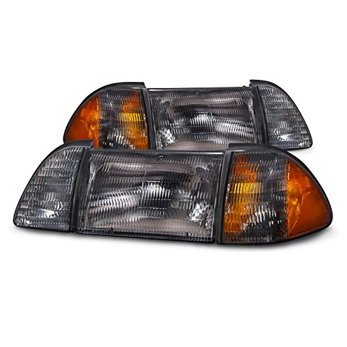 PERDE Compatible with FRONT HEADLIGHT Ford Mustang 6PCS SET STOCK SMOKE W/AMBER