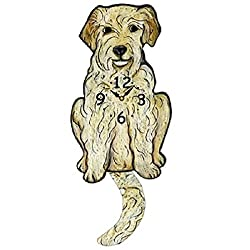 Goldendoodle Dog Wagging Tail Pendulum Clock