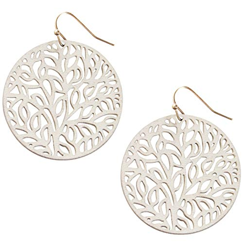 (Humble Chic Vegan Leather Earrings for Women - Round Circle Dangle Statement Filigree Dangling Lightweight Boho Vintage-Style Drops, Off White Circle, Ivory-Colored Circle, Tree Of Life)