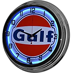 17 Blue Neon Wall Clock, Gulf Gas Oil Gasoline Station