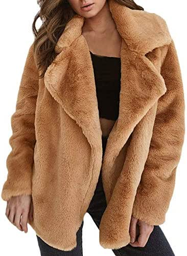 NOMUSING Coat for Women Winter Elegant Keep Warm Outerwear Loose Big Collar Fur Overcoat Long Sleeve Slouchy Tunic