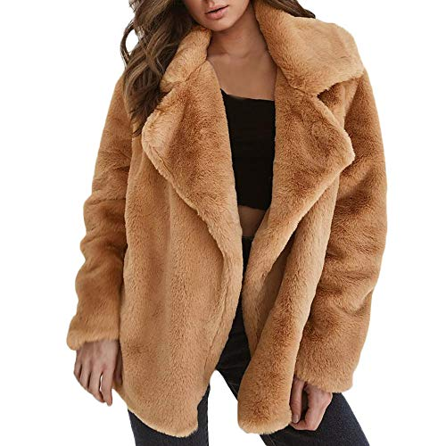 Daoroka Women Winter Warm Faux Fur Coat Jacket Ladies Notched Thick Outerwear Parka Cardigan (Fur Notched Coat Collar)