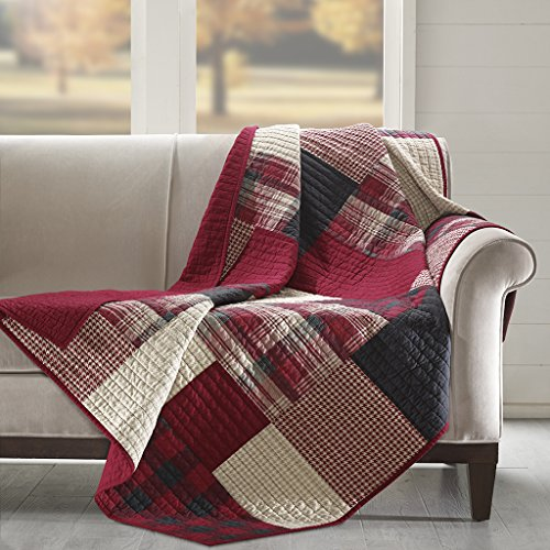 - Woolrich Sunset Luxury Quilted Throw Red 50x70   Plaid Premium Soft Cozy 100% Cotton For Bed, Couch or Sofa