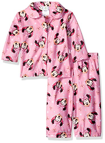 Disney Girls' Minnie Mouse 2-Piece Pajama Coat Set, Pink, (2 Piece Disney Minnie Mouse)