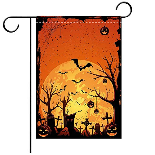 Custom Personalized Garden flag Outdoor flag Halloween Grungy Graveyard Cemetery Necropolis with Bats Pumpkins Crosses Cobweb Decorative Orange Brown Black Best for Party Yard and Home Outdoor Decor]()