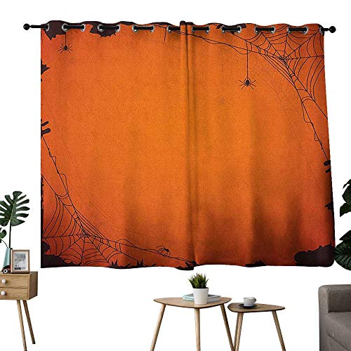 Spider Web Grommets Room Darkening Curtains Grunge Halloween Composition Scary Framework with Insects Abstract Cobweb Drapes/Draperies Orange Brown W96 x L72