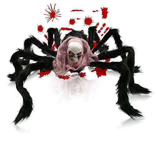 Amachok 27'' Black Spider Halloween Decorations, Realistic Hairy Spider Props, Garden Patio Halloween Party Scary Decoration and Bloody Handprints&Footprints Stickersas Gift(Black) -