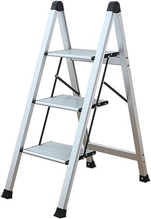 BgDD Escalera Doméstica De Aluminio De 3 Escalones con Cerradura De Seguridad Escalera Plegable Antideslizante Carga Máxima 150 Kg,Silver,3steps: Amazon.es: Hogar