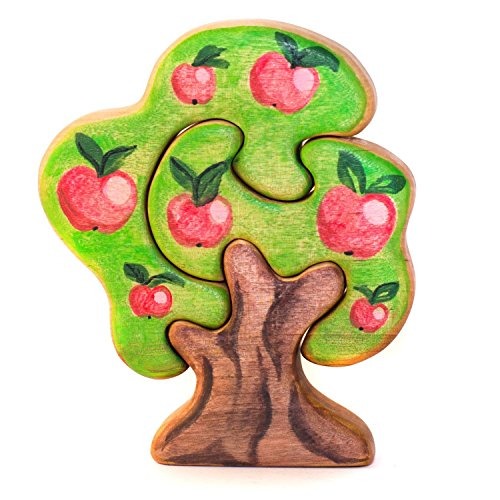 DEREVKO Doublesided Apple Wooden Tree Puzzle//5.1'' Waldorf Nature Table by Derevko Toys