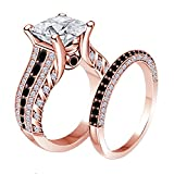 Women's Jewelry 14K Gold Plated Alloy Plated 2.00CT Dazzling Princess Cut Cubic Zirconia & Created Black CZ Round Wedding Band & Engagement Ring Bridal Set Free Sizes 4-11