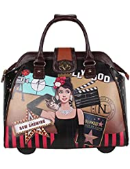 Nicole Lee Womens Stylish Rolling Print Bag, Laptop Compartment Travel Tote, Hollywood Star, One Size