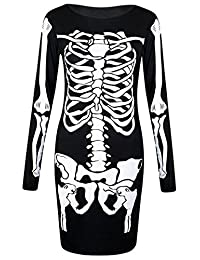 Girls Walk Women's Long Sleeves Skeleton Print Halloween Bodycon Dress