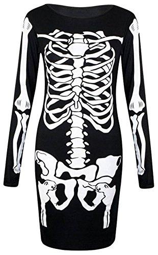 (Girls Walk Women's Long Sleeves Skeleton Print Halloween Bodycon)