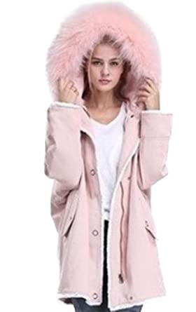b9e01088c11d Image Unavailable. Image not available for. Color  Moda Furs Women s Pink  Winter Jacket Coat with Hood Fox Fur Trim ...