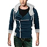 DJT Men's Oblique Zipper Hoodie Casual Top Coat Slim Fit Jacket X-Large Dark Blue