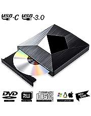Lector CD DVD Externo USB 3.0 con Type C,PIAEK Lector Grabadora Unidad Reproductor de DVD CD Portátil CD-RW/DVD-RW CD RW Row Rewriter Burner para Macbook OS con Windows PC