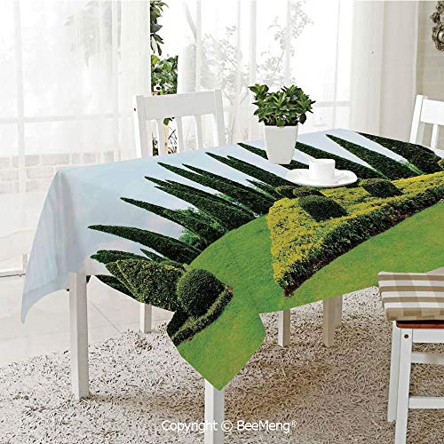 BeeMeng Spring and Easter Dinner Tablecloth,Kitchen Table Decoration,Country Home Decor,Classic Formal Designed Garden with Evergreen Shrubs Boxwood Topiaries,59 x 83 -