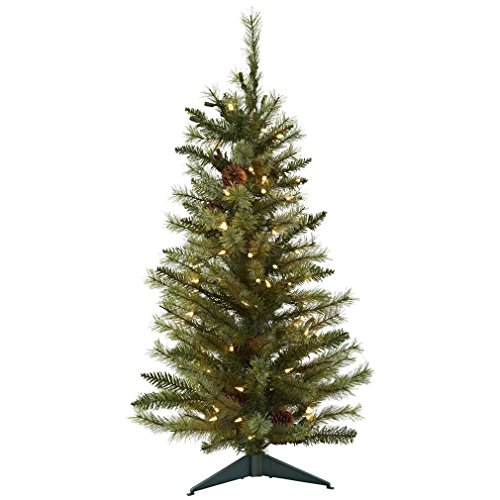 Tree with Pine Cones and Clear Lights, 3-Feet, Green