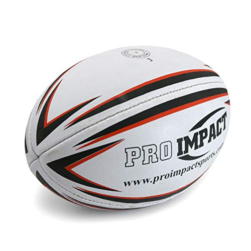 Pro Impact Training Rugby Ball - Professional Grade Ball - Ideal Toss & Kick Practice for Youth & Adult - Indoor or Outdoor Use (White, Size 3) ()