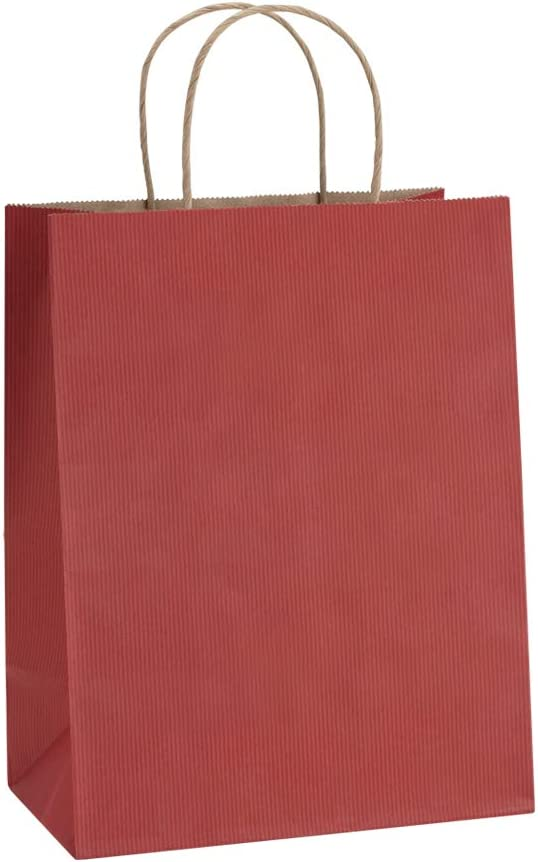 Gift Bags 8x4.25x10.5 50Pcs BagDream Paper Bags Shopping Bags Kraft Bags Retail Bags, Red Stripes Paper Bags with Handles Bulk, Recycled Paper Gift Bags