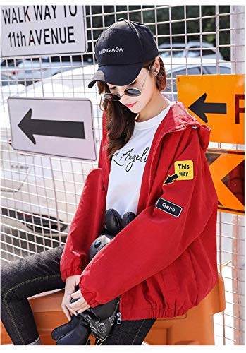 El Capuche Printemps Longues Manteau Femme Patches Automne A Manches Badge Veste vH67qc