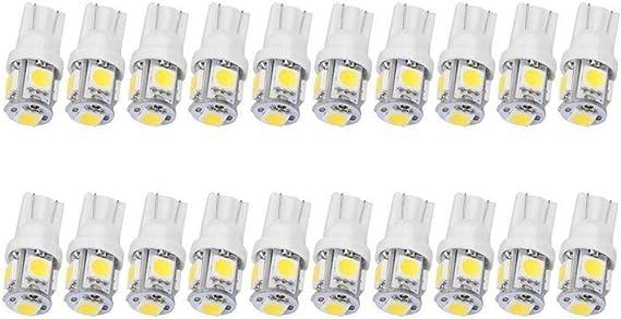 JKLcom T10 194 LED Bulbs 20 Pack T10 Wedge 168 2825 W5W 5050 5 SMD LED White 12V Car LED Light Bulb Car Interior Light for Map Dome Lamp Courtesy Trunk License Plate Dashboard Parking Lights
