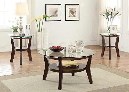 Poundex F3120 3-Pcs Espresso Glass Coffee & End Table Set Birch Set Coffee Table