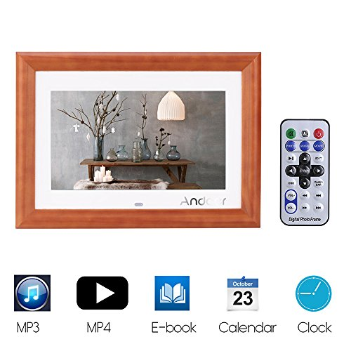 """Andoer 10"""" Digital Photo Frame Desktop Wood HD LCD MP3 MP4 Music Player Movie Player E-book Calendar Clock with Remote Controller Christmas Gift"""