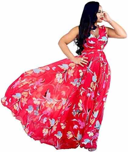 157f9c67893 Nuofengkudu Womens Stylish Chiffon V-Neck Printed Floral Maxi Dress with  Waisted Belt Plus Size
