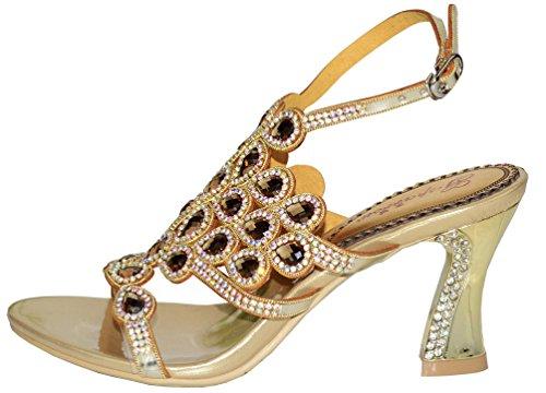 Abby Womens Wedding Party Show Work Comfort Mid Heel Micro-fiber Sandals Gold jzFWxh