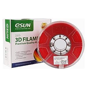 eSUN 3D 1.75mm PETG Red Filament 1kg (2.2lb), PETG 3D Printer Filament, 1.75mm Solid Opaque Red from ESUN