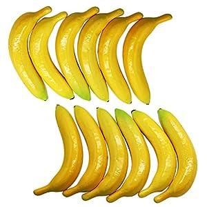 YOFIT Artificial Lifelike Simulation Yellow Banana 12 Pcs, Fake Fruit for Home House Kitchen Party Decoration 2