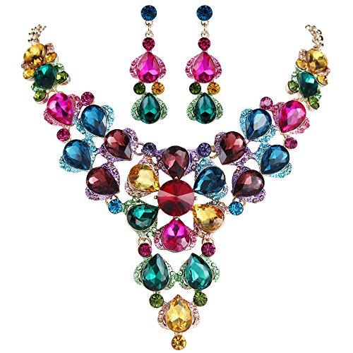BriLove Women's Wedding Bridal Crystal Multi Teardrop-Shape Flower Enamel Statement Necklace Dangle Earrings Set Colorful Multicolor Gold-Tone ()