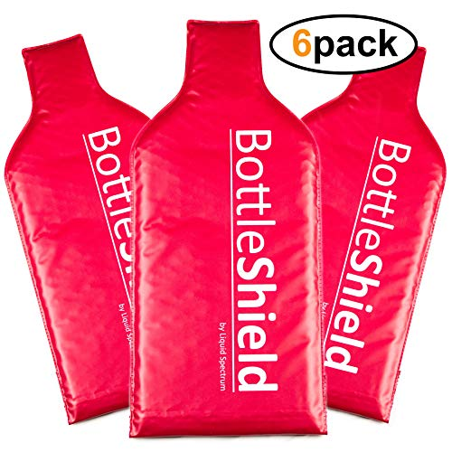 6 Pack Reusable Wine Protector Travel Bag by Bottle Shield - Unbreakable Bottle Sleeve, Leak Proof & Double Layer Bubble Wrap Suit With Zip Locks | Wine Bags Gift Accessory for Suitcase Luggage