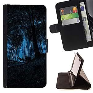 Momo Phone Case / Flip Funda de Cuero Case Cover - Carro Carro del caballo maderas de Halloween - Sony Xperia M4 Aqua