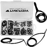 Thkfish Fishing Rod Repair Kit Spinning Rod Guides Ceramics Stainless Steel Carbon Black Guide Repair 8 Sizes