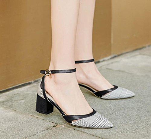 Moda Negro Hebilla Resorte XZGC con de Tacones Altos Áspero Señaló Zapatos Celosía pFw86