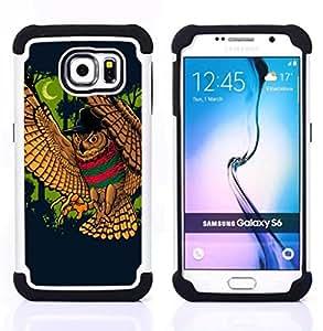 - Majestic Night Owl Attack/ H??brido 3in1 Deluxe Impreso duro Soft Alto Impacto caja de la armadura Defender - SHIMIN CAO - For Samsung Galaxy S6 G9200