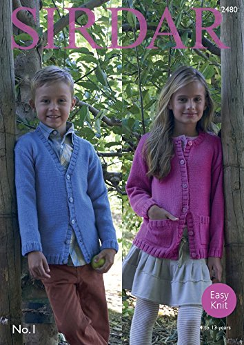 Amazon Sirdar Childrens Cardigans No1 Knitting Pattern 2480 Dk