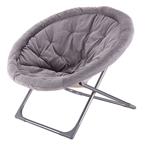 Giantex Oversized Large Folding Saucer Moon Chair Corduroy Round Seat Living Room (Gray) (Oversized Chair Wicker Papasan)