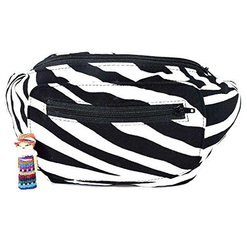 Santa Playa Funky Animal Print Fanny Pack, Stylish Party Boho Chic Handmade with Hidden Pocket by (Sassy Zebra)