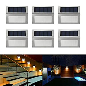 Easternstar Solar Light,Outdoor Waterproof Stainless Steel Solar LED Step Light Illuminates Stairs Patio Deck Yard Garden Outsides Path Fence Post lamp (6 Pack)