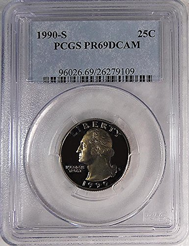 (1990 S Proof Washington Quarter Blue Label Holder Quarter PR 69 DCAM PCGS)