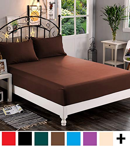 Elegant Comfort  Premium Hotel 1-Piece, Luxury & Softest 1500 Thread Count Egyptian Quality Bedding Fitted Sheet Deep Pocket up to 16inch, Wrinkle and Fade Resistant, King, Chocolate - Sheet Fitted Chocolate