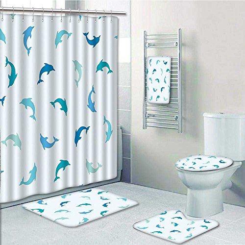 5-piece Bathroom Set-Includes Shower Curtain Liner,Sea Leaping and on peacock shower curtain sets, purple shower curtain sets, window shower curtain sets, holiday shower curtain sets, bathroom accessories, animal prints shower curtain sets, country style shower curtain sets, bathroom beach sets, bathroom bedroom sets, beach shower curtain sets, bathroom soap sets, bathroom floor sets, wildlife shower curtains sets, valance shower curtain sets, red bathroom sets, bathroom furniture sets, modern shower curtain sets, snowman shower curtain sets, shower curtain and towel sets, red shower curtain sets,
