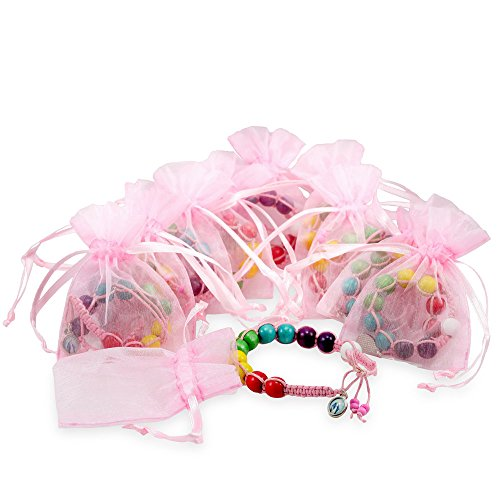 (First Communion Favor with Pink String Rosary Bracelet with Multicolored Beads - 10 pieces)