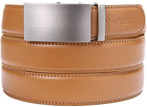 YAMEZI Men's Leather Ratchet Dress Belt with Automatic Buckle, Leather With Logo (26-44'' Waist, (Leather Logo Buckle)