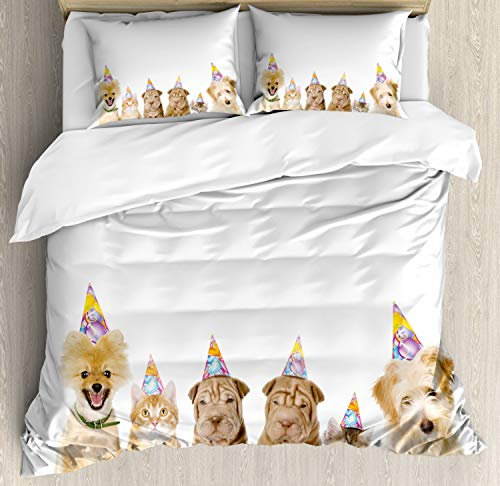 Ambesonne Birthday Party Duvet Cover Set Queen Size, Shelter Dogs Terrier Cats with Cone Hats Party Theme Birthday Image Print, Decorative 3 Piece Bedding Set with 2 Pillow Shams, White Brown