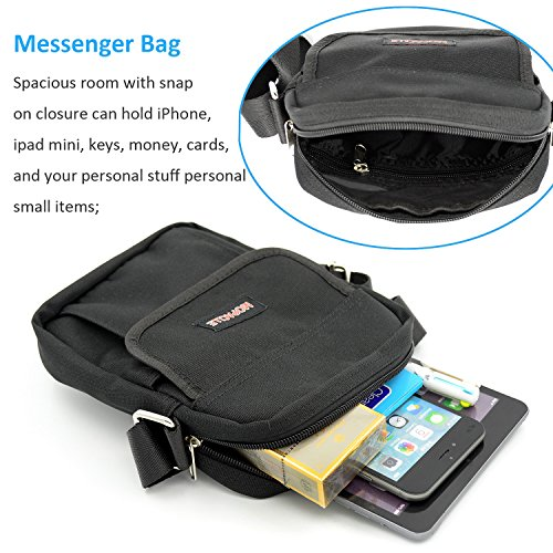 Mopaclle Nylon Bolso Bandolera de Hombre Viajes Casual Bolsa para ipad mini, iphone 7 Plus, Samsung Galaxy S8 Plus, Outdoor Sport, 2.5L (Negro) Negro