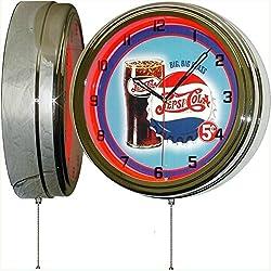 PEPSI Cola Big Big Glass 15 Neon Lighted Wall Clock Sign